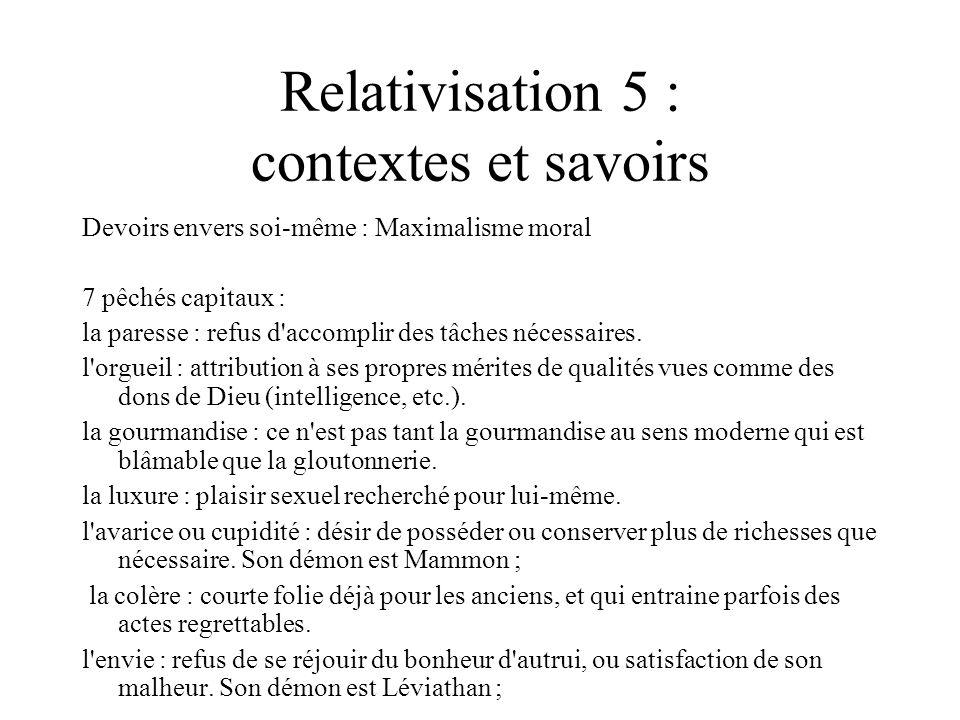 Relativisation 5 : contextes et savoirs