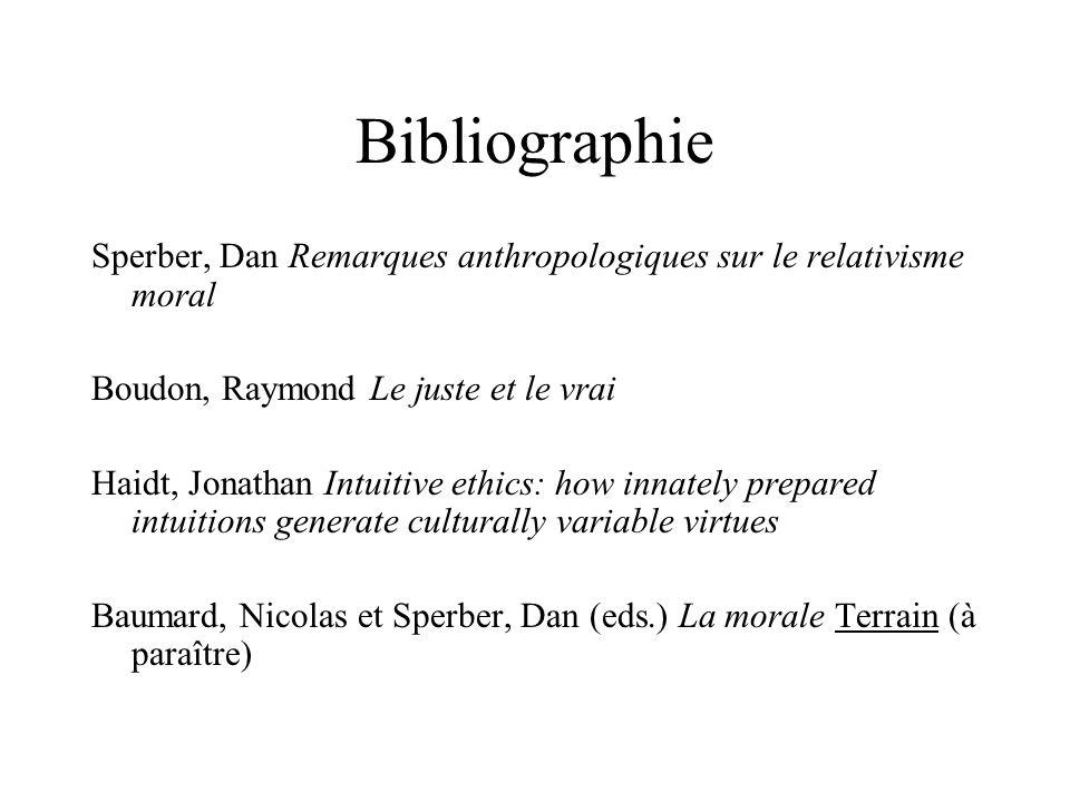 Bibliographie Sperber, Dan Remarques anthropologiques sur le relativisme moral. Boudon, Raymond Le juste et le vrai.