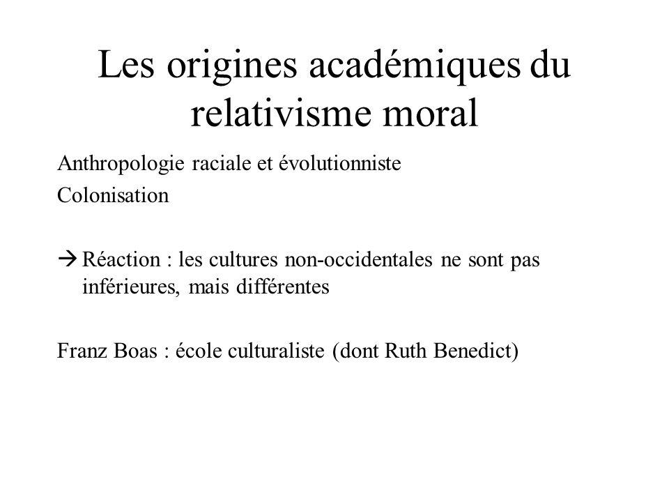 Les origines académiques du relativisme moral
