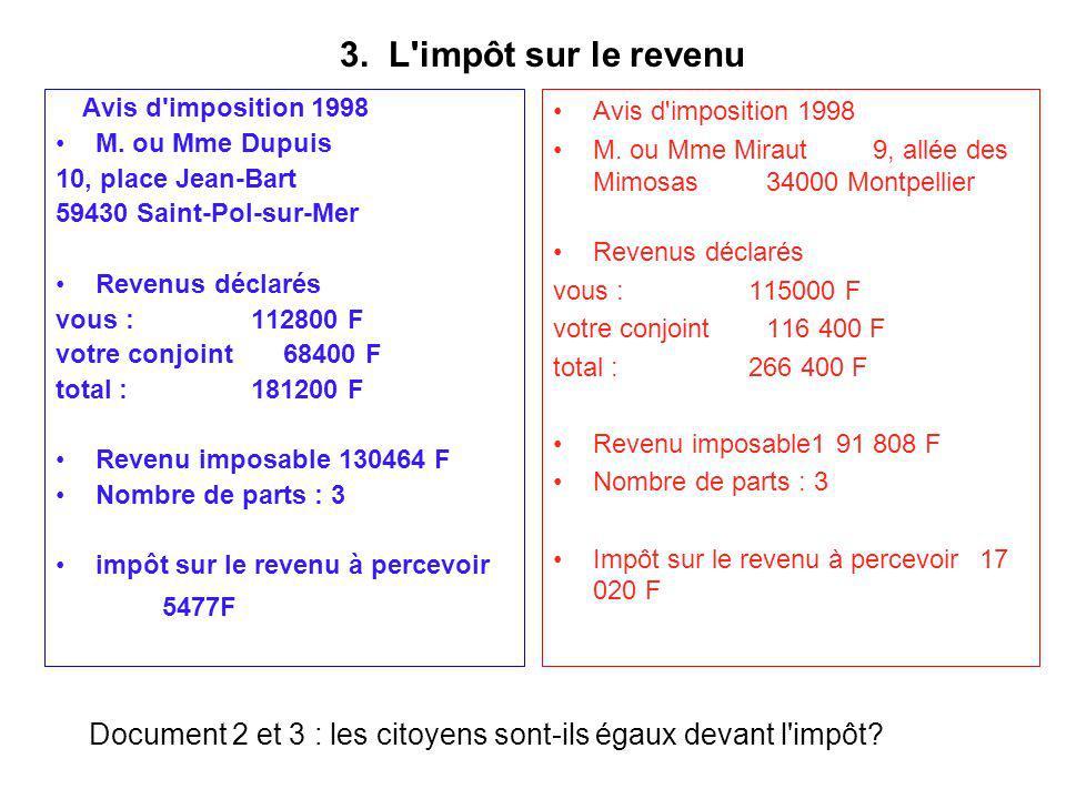 3. L impôt sur le revenu Avis d imposition 1998. M. ou Mme Dupuis. 10, place Jean-Bart. 59430 Saint-Pol-sur-Mer.