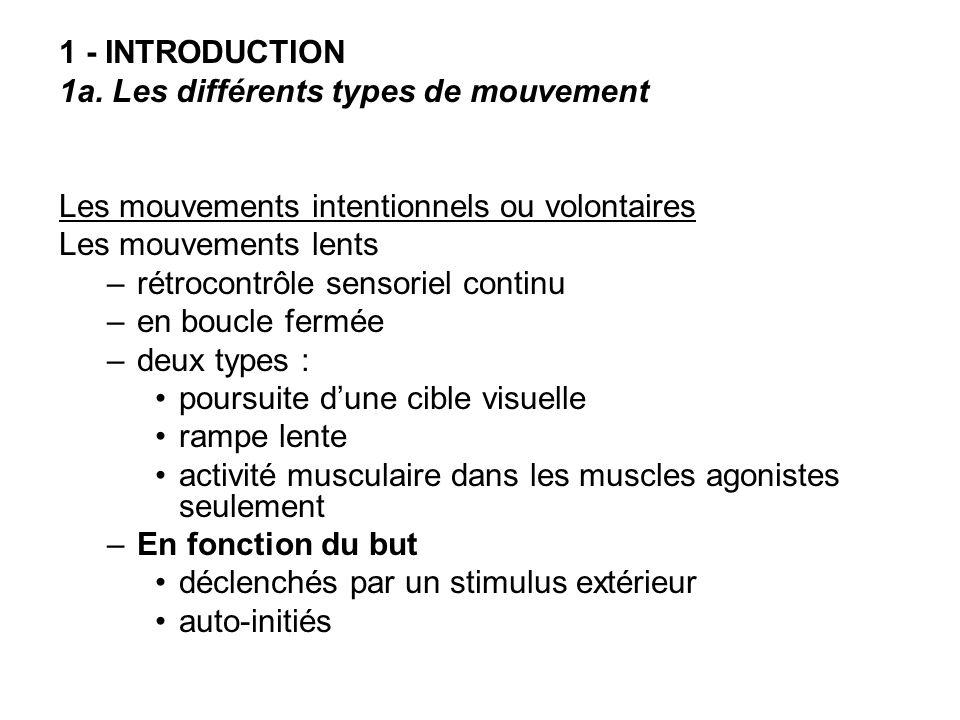 1 - INTRODUCTION 1a. Les différents types de mouvement. Les mouvements intentionnels ou volontaires.