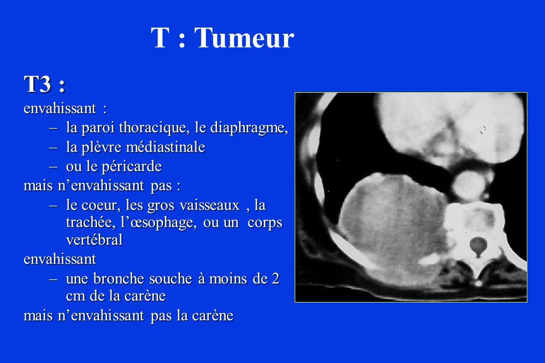 T : Tumeur T3 : envahissant : la paroi thoracique, le diaphragme,