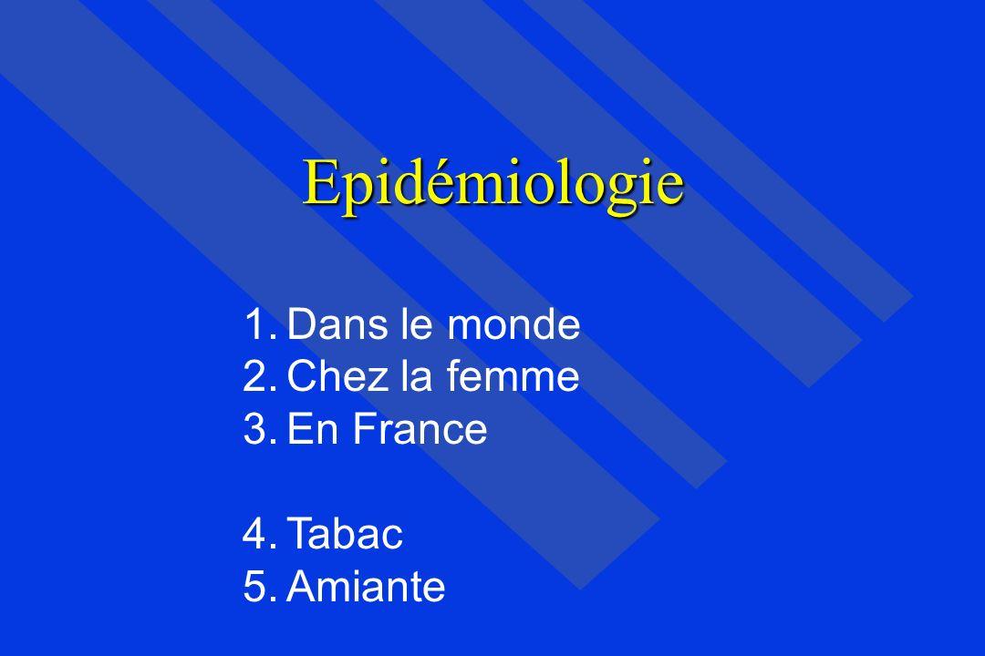 Epidémiologie Dans le monde Chez la femme En France Tabac Amiante