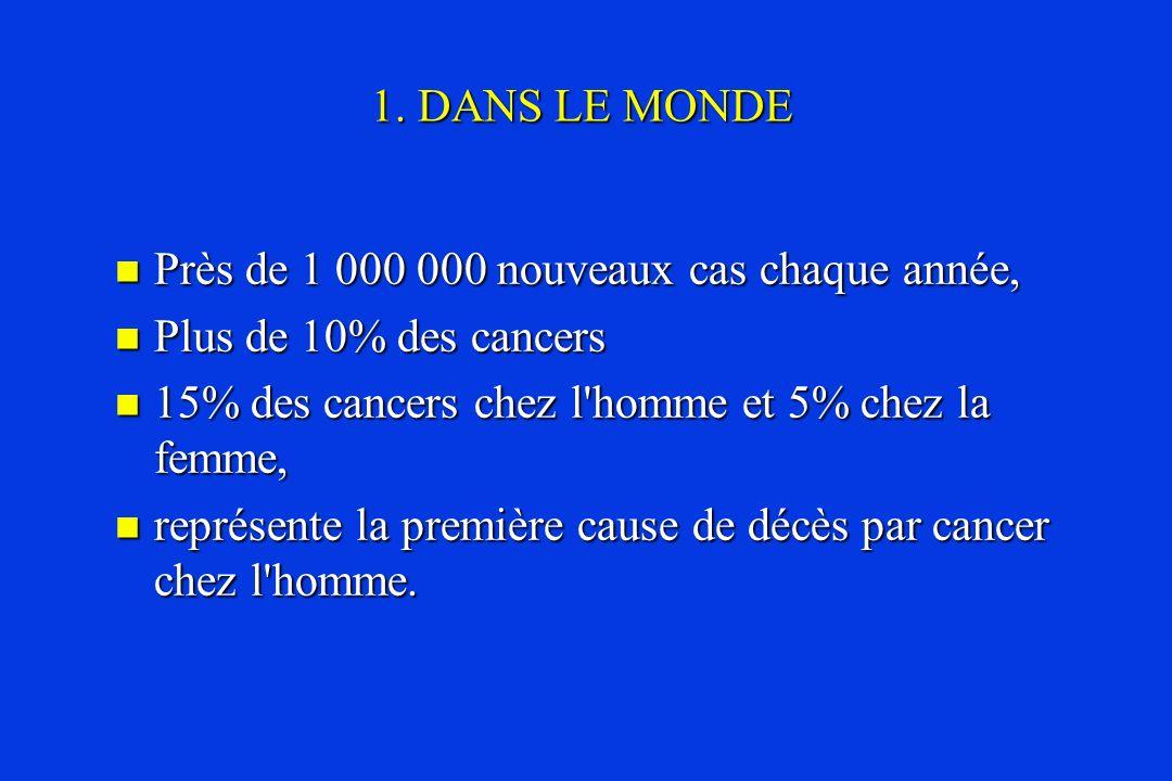 1. DANS LE MONDE Près de 1 000 000 nouveaux cas chaque année, Plus de 10% des cancers. 15% des cancers chez l homme et 5% chez la femme,