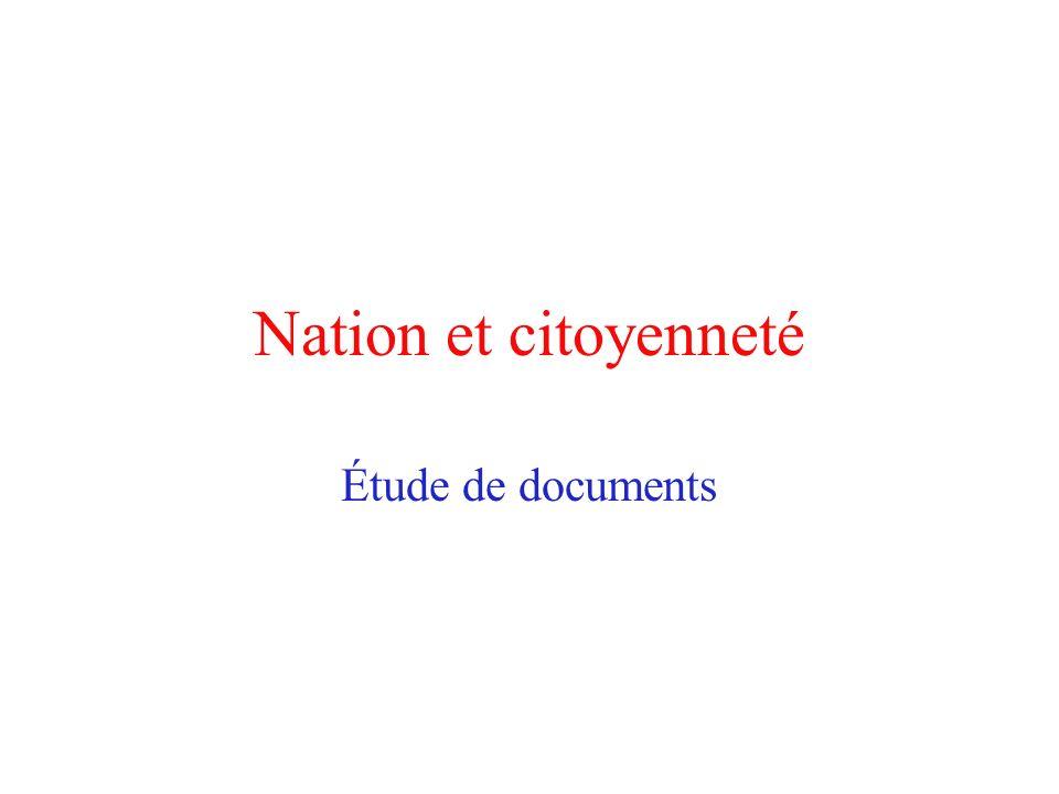 Nation et citoyenneté Étude de documents