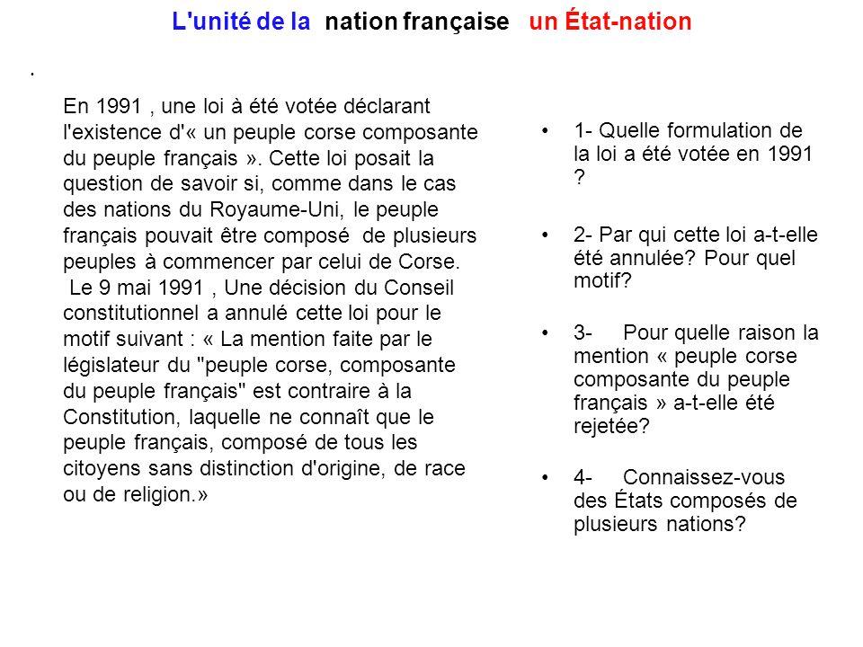 L unité de la nation française : un État-nation