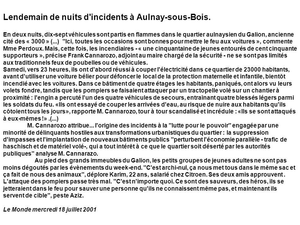 Lendemain de nuits d incidents à Aulnay-sous-Bois