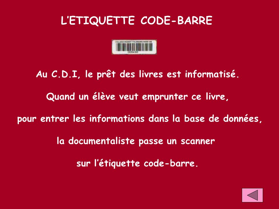 L'ETIQUETTE CODE-BARRE