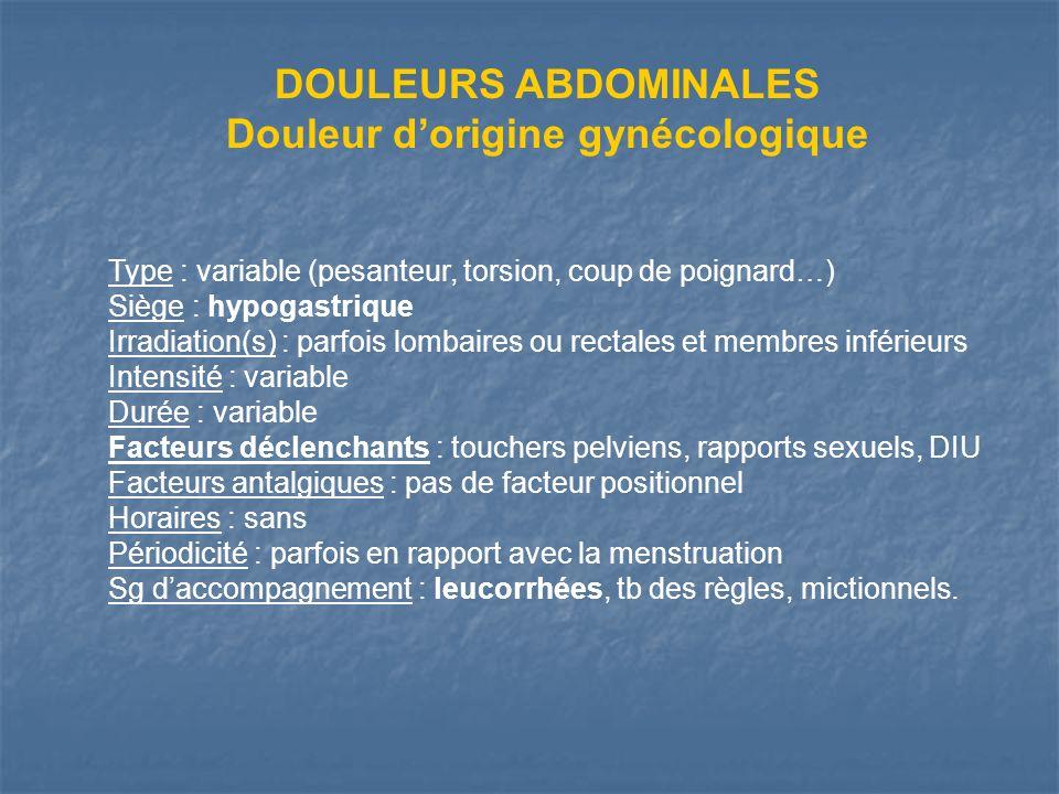 Douleur d'origine gynécologique