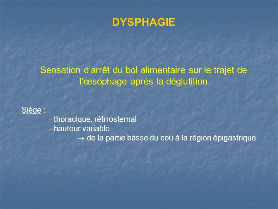 DYSPHAGIE Sensation d'arrêt du bol alimentaire sur le trajet de l'œsophage après la déglutition. Siège :