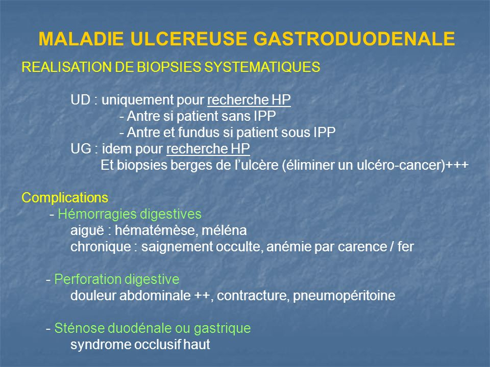 MALADIE ULCEREUSE GASTRODUODENALE