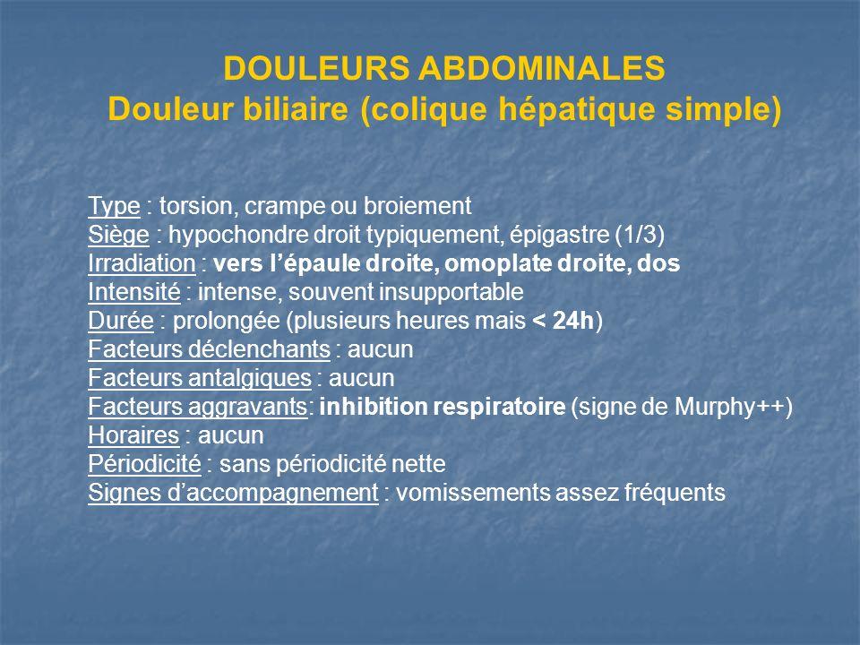 Douleur biliaire (colique hépatique simple)