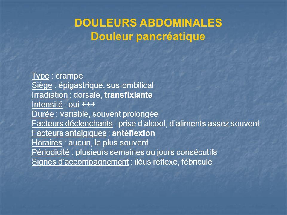 DOULEURS ABDOMINALES Douleur pancréatique