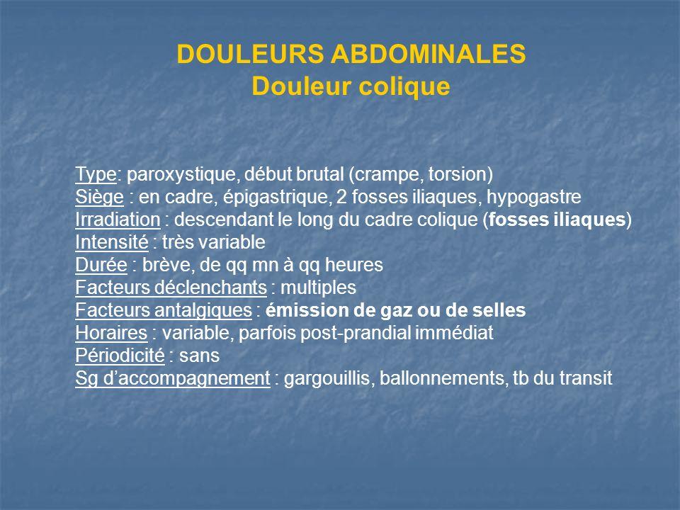 DOULEURS ABDOMINALES Douleur colique