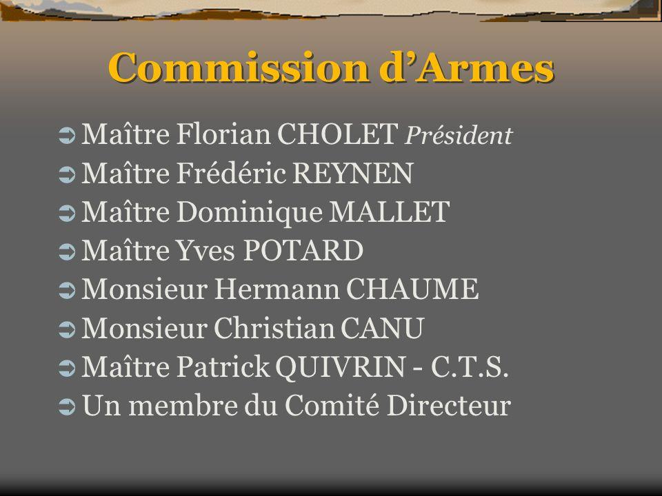 Commission d'Armes Maître Florian CHOLET Président