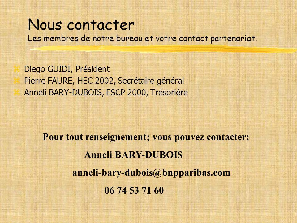 Nous contacter Les membres de notre bureau et votre contact partenariat.