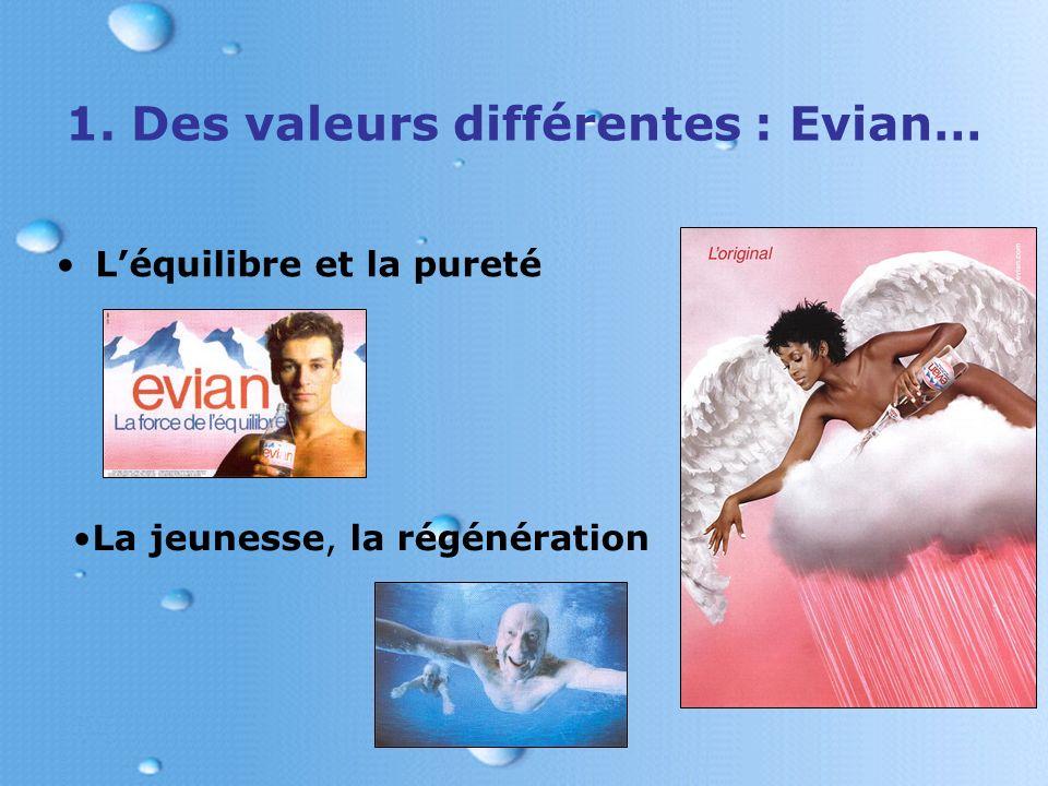 1. Des valeurs différentes : Evian…