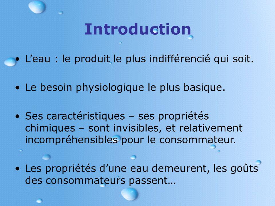 Introduction L'eau : le produit le plus indifférencié qui soit.