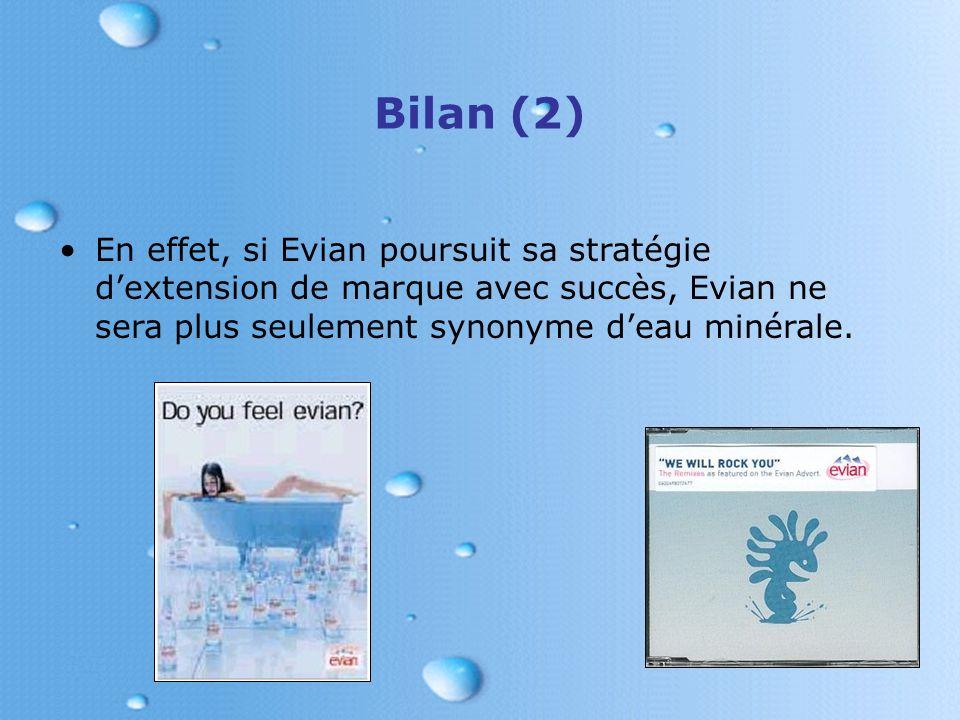 Bilan (2) En effet, si Evian poursuit sa stratégie d'extension de marque avec succès, Evian ne sera plus seulement synonyme d'eau minérale.