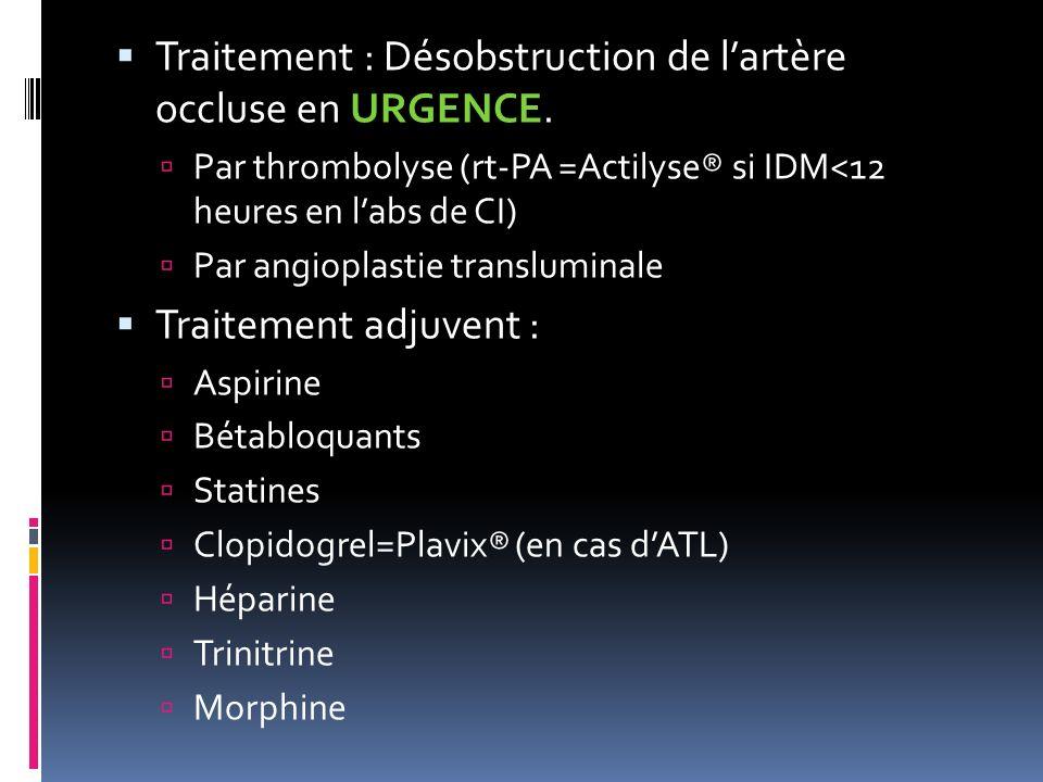Traitement : Désobstruction de l'artère occluse en URGENCE.