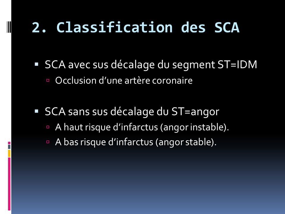 2. Classification des SCA