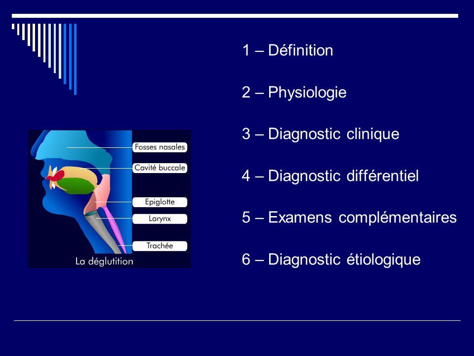 1 – Définition 2 – Physiologie. 3 – Diagnostic clinique. 4 – Diagnostic différentiel. 5 – Examens complémentaires.