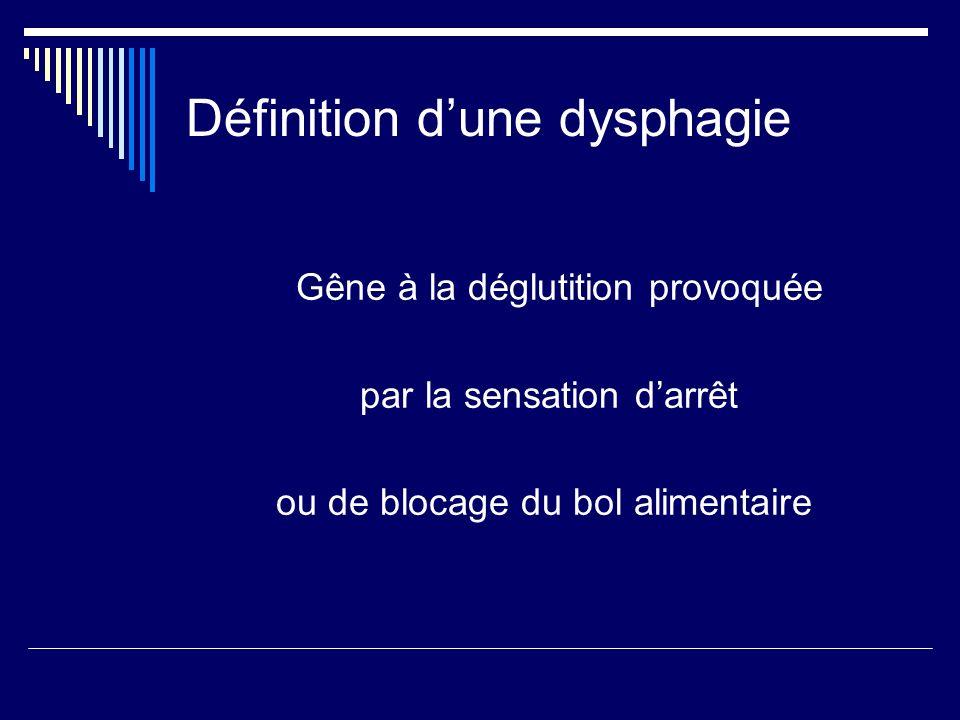 Définition d'une dysphagie