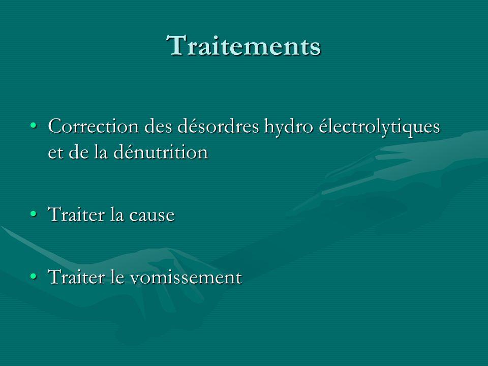 TraitementsCorrection des désordres hydro électrolytiques et de la dénutrition.