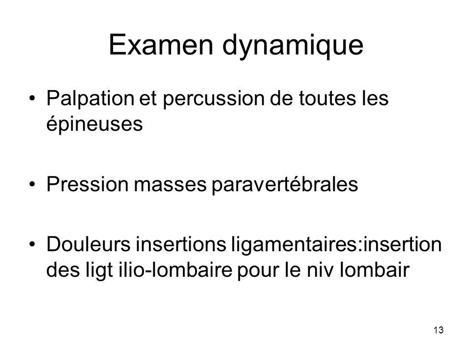 Examen dynamique Palpation et percussion de toutes les épineuses