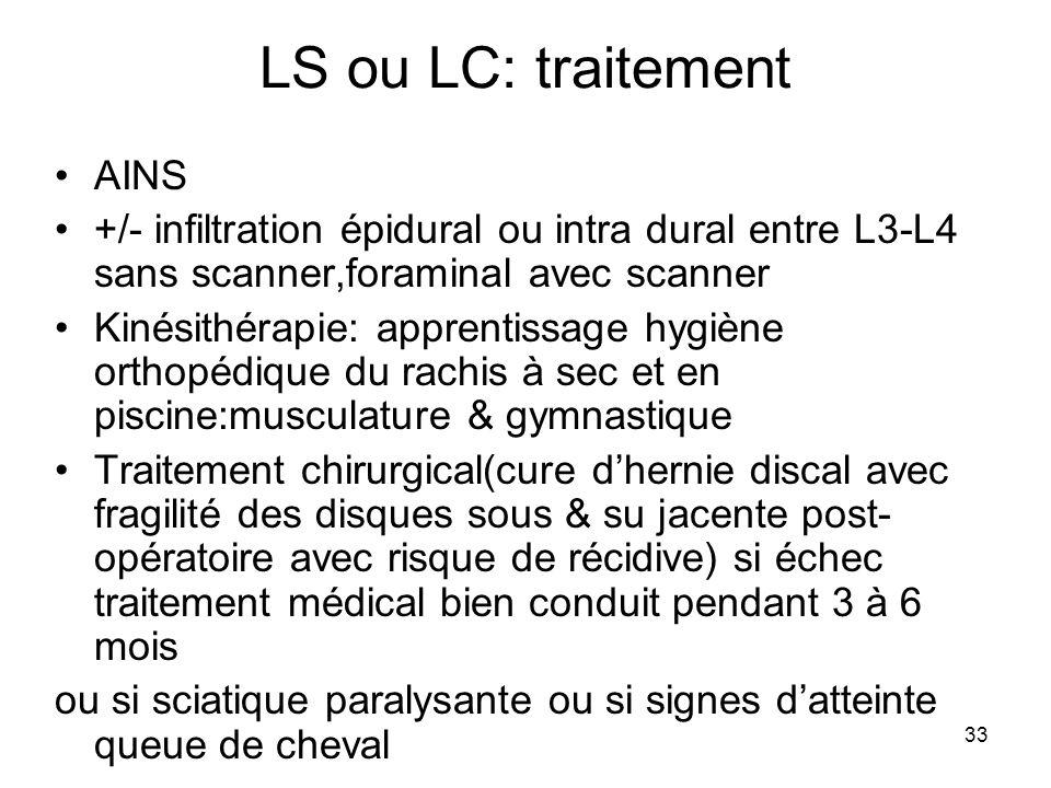 LS ou LC: traitement AINS