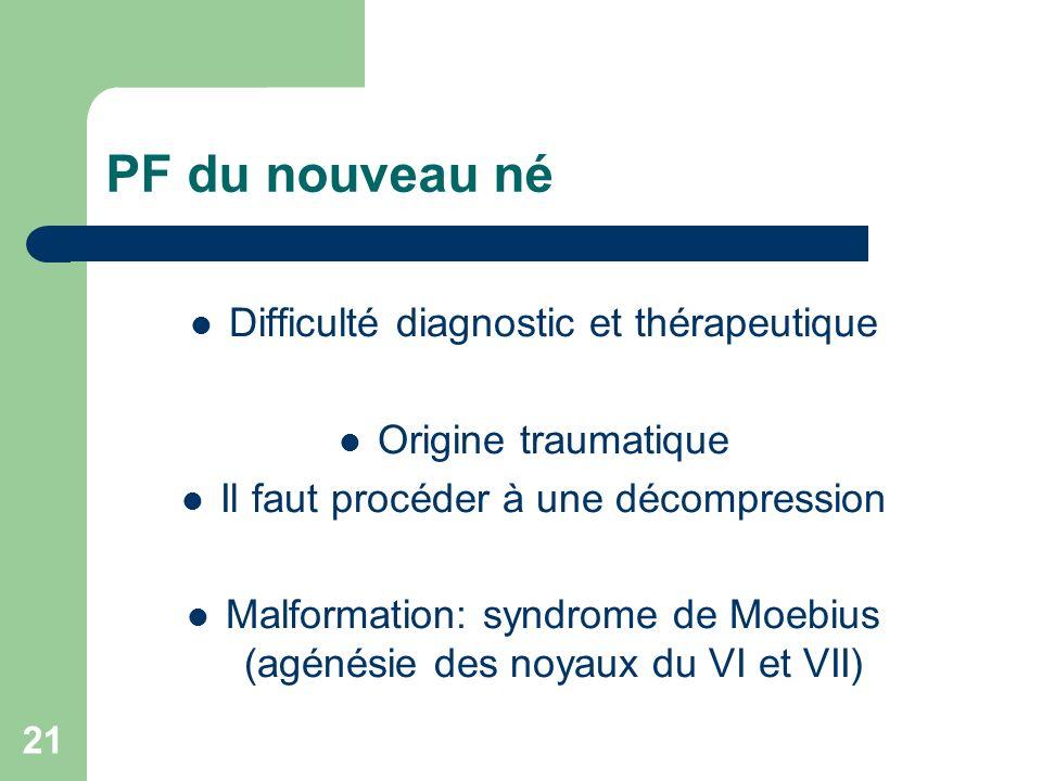 PF du nouveau né Difficulté diagnostic et thérapeutique