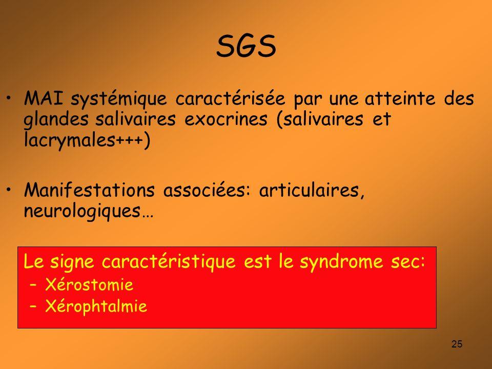 SGS MAI systémique caractérisée par une atteinte des glandes salivaires exocrines (salivaires et lacrymales+++)