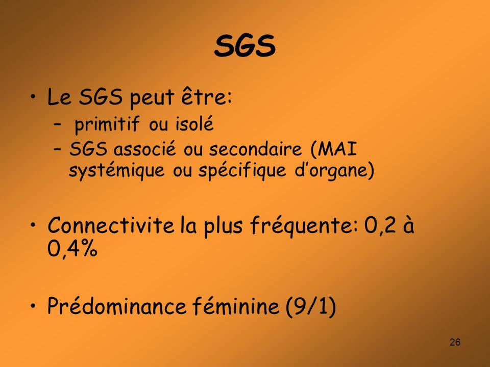 SGS Le SGS peut être: Connectivite la plus fréquente: 0,2 à 0,4%