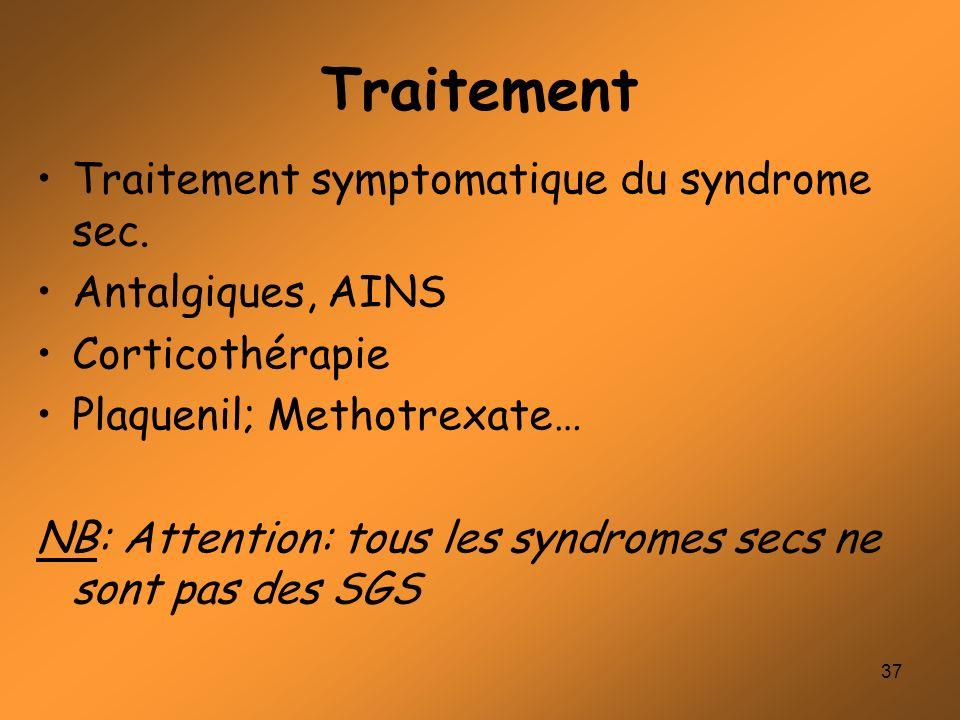Traitement Traitement symptomatique du syndrome sec. Antalgiques, AINS