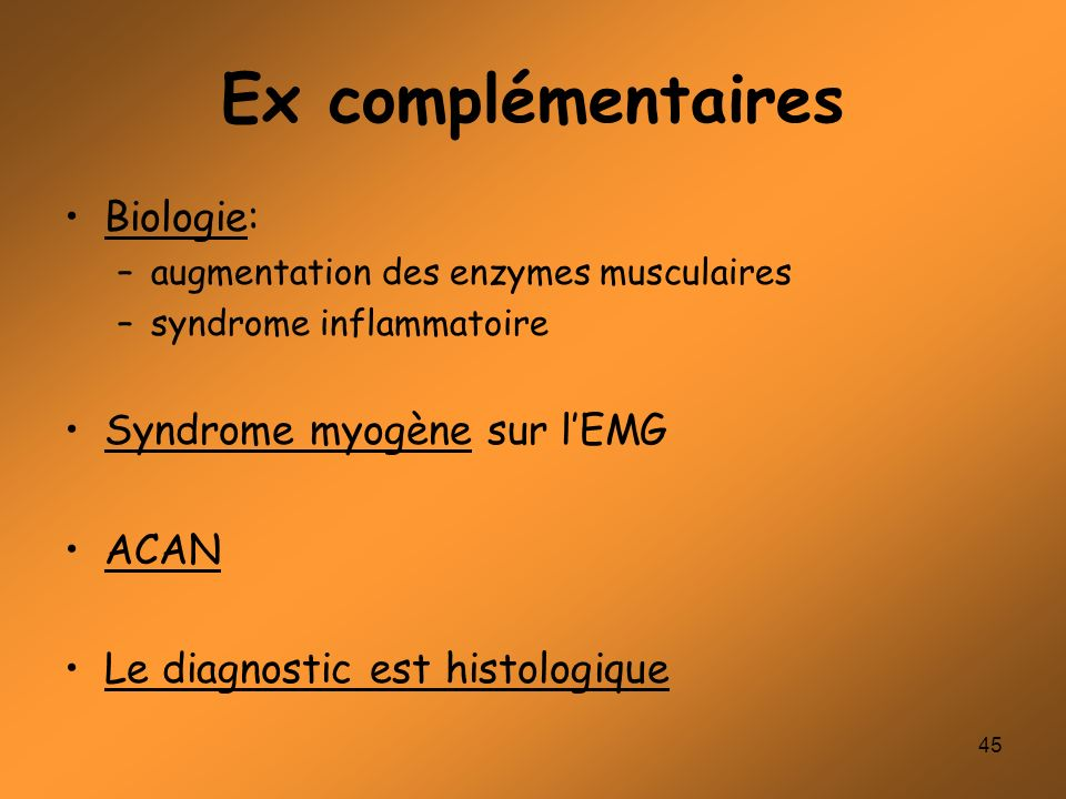 Ex complémentaires Biologie: Syndrome myogène sur l'EMG ACAN