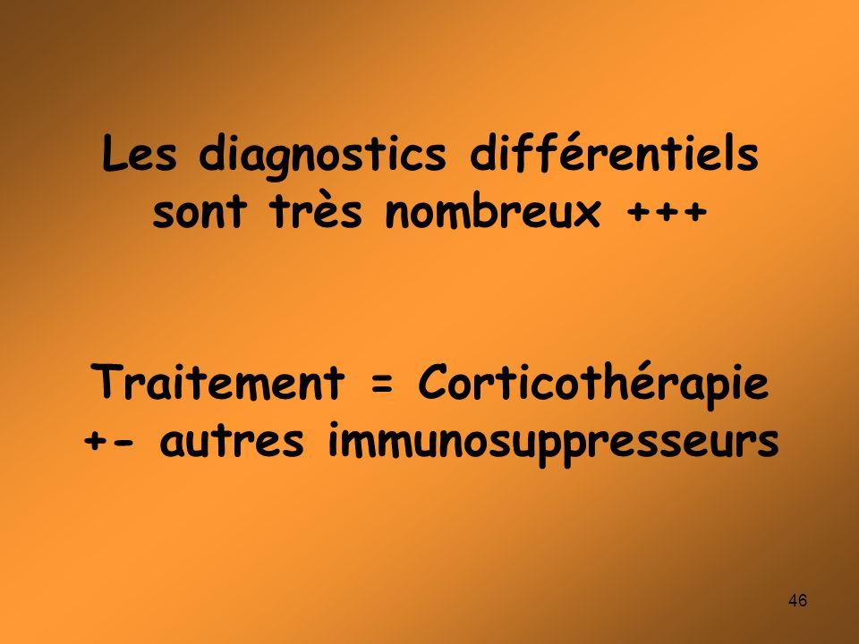 Les diagnostics différentiels sont très nombreux +++ Traitement = Corticothérapie +- autres immunosuppresseurs
