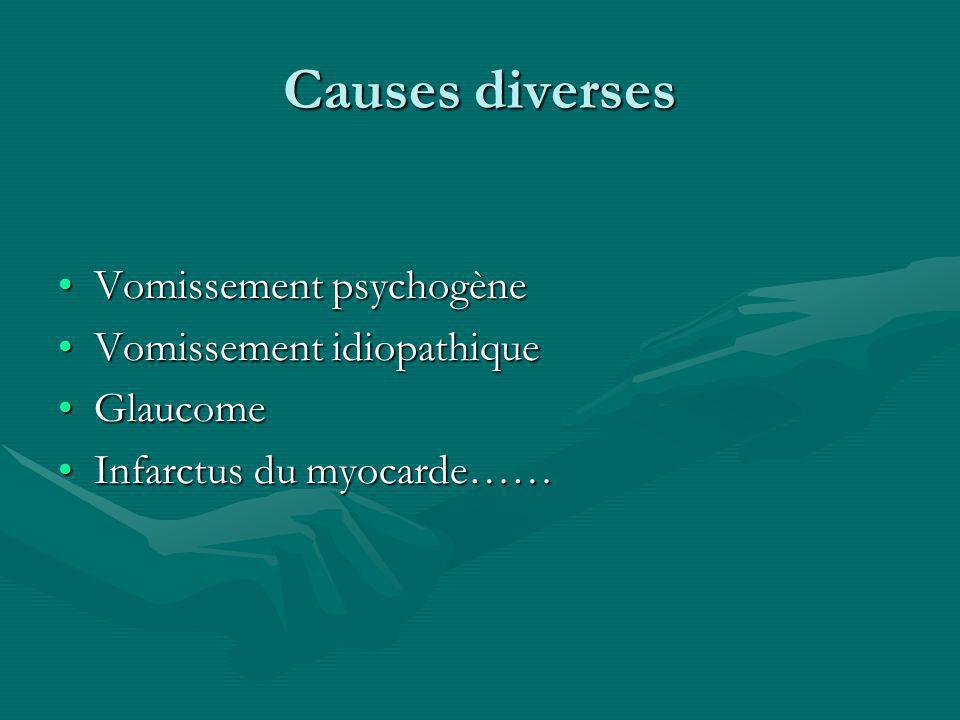 Causes diverses Vomissement psychogène Vomissement idiopathique