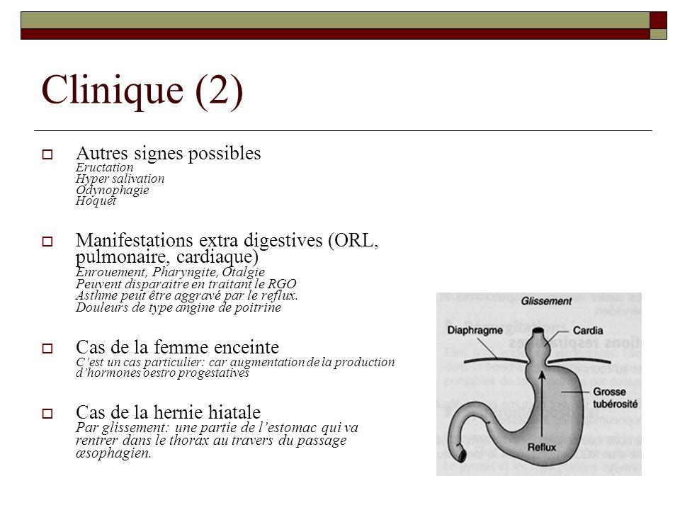 Clinique (2) Autres signes possibles Eructation Hyper salivation Odynophagie Hoquet.