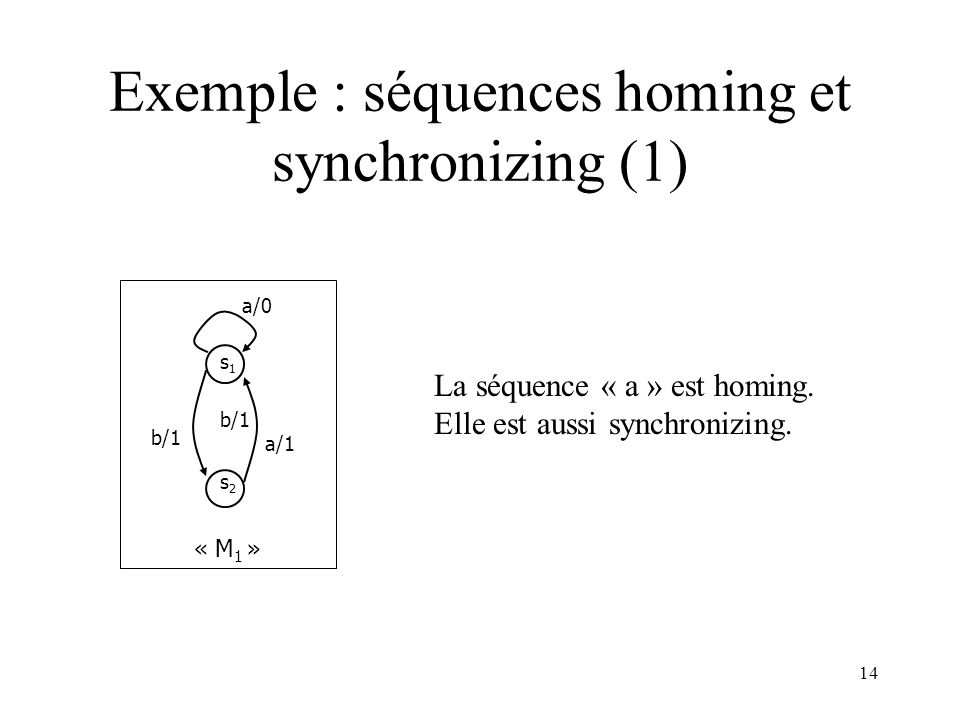 Exemple : séquences homing et synchronizing (1)