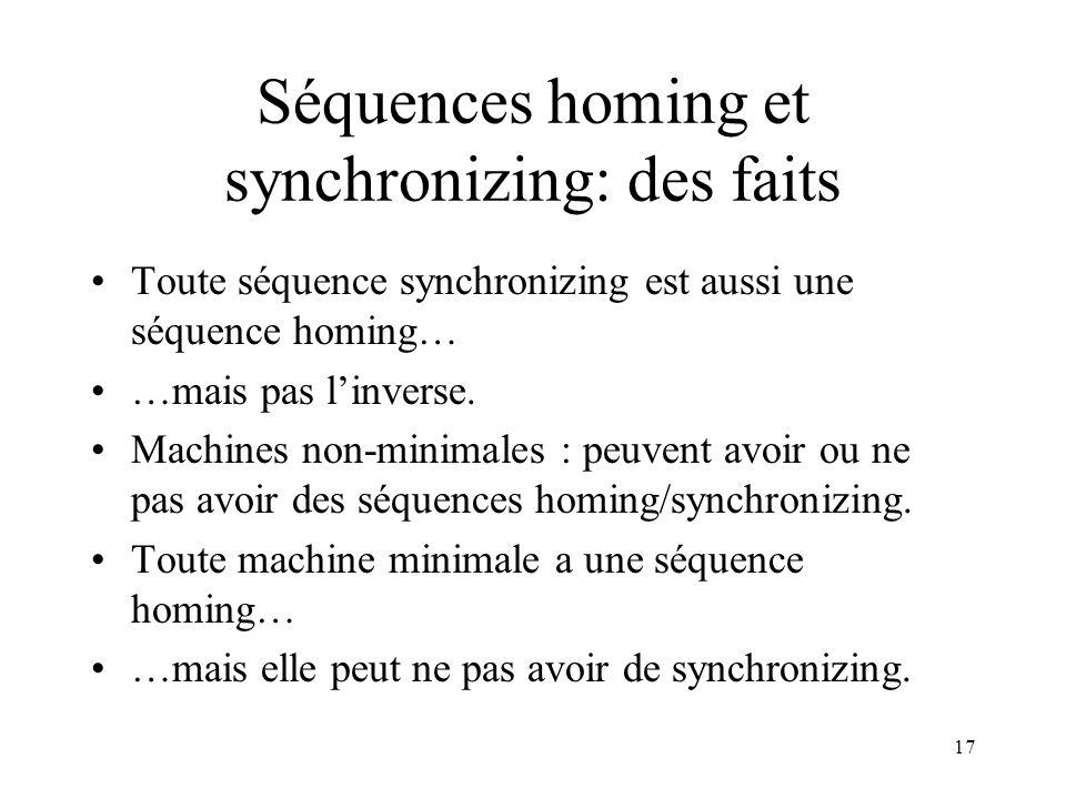 Séquences homing et synchronizing: des faits