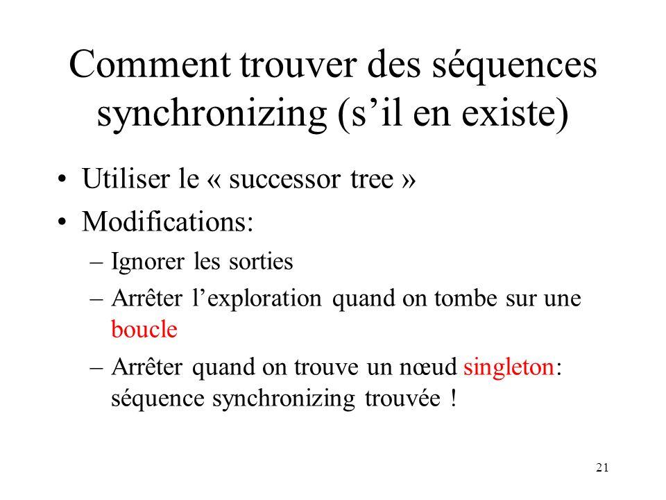 Comment trouver des séquences synchronizing (s'il en existe)