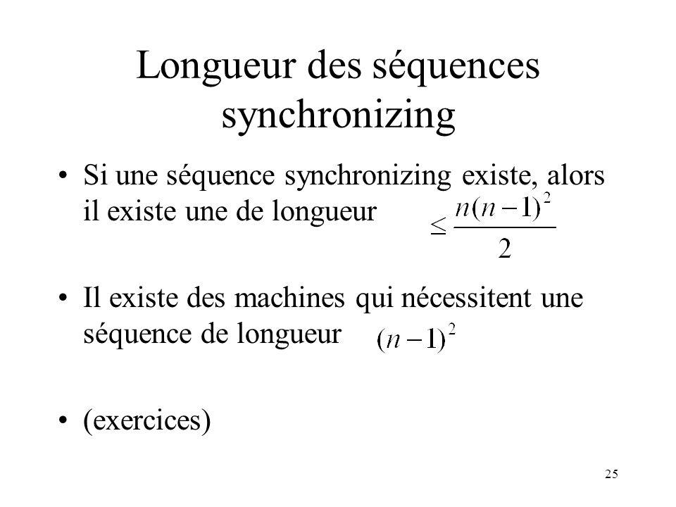 Longueur des séquences synchronizing