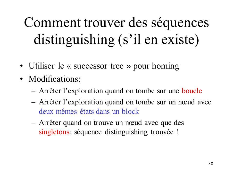 Comment trouver des séquences distinguishing (s'il en existe)
