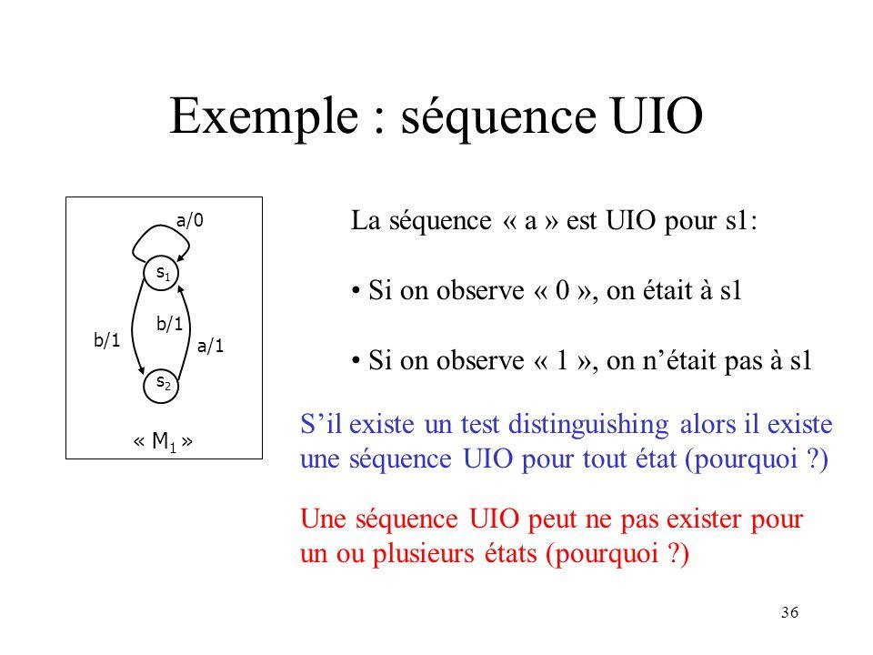 Exemple : séquence UIO La séquence « a » est UIO pour s1: