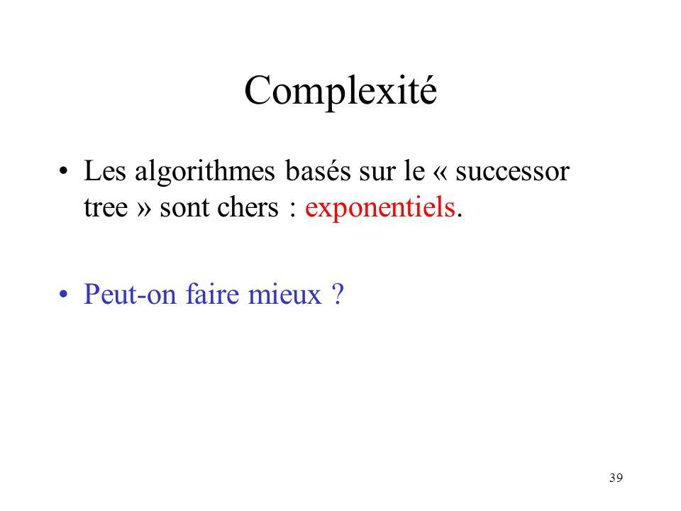 Complexité Les algorithmes basés sur le « successor tree » sont chers : exponentiels.