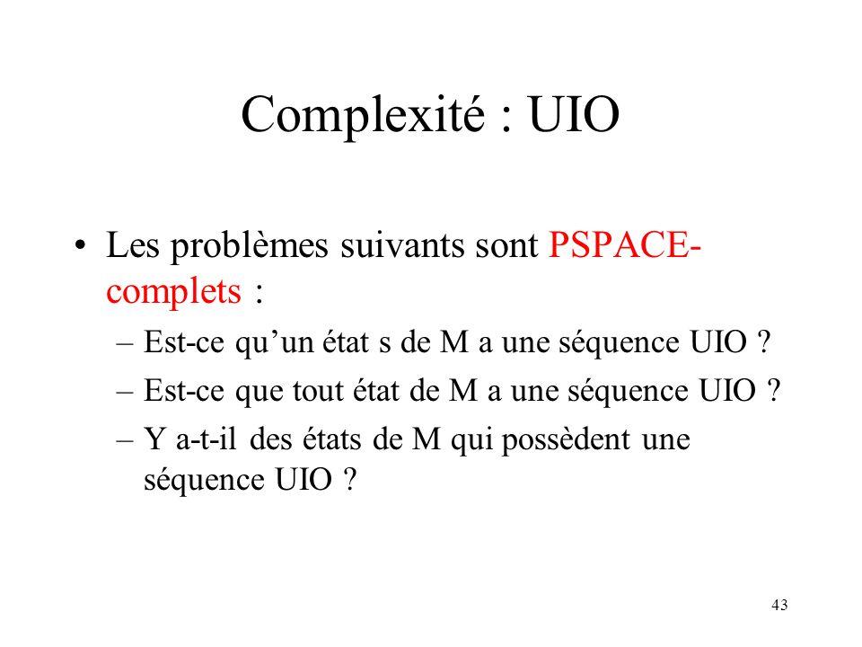 Complexité : UIO Les problèmes suivants sont PSPACE-complets :