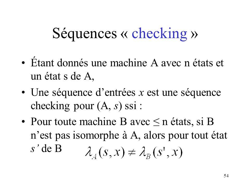 Séquences « checking » Étant donnés une machine A avec n états et un état s de A,