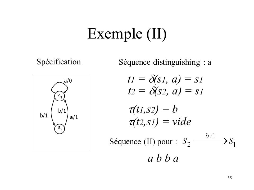 Exemple (II) t1 = (s1, a) = s1 t2 = (s2, a) = s1 (t1,s2) = b