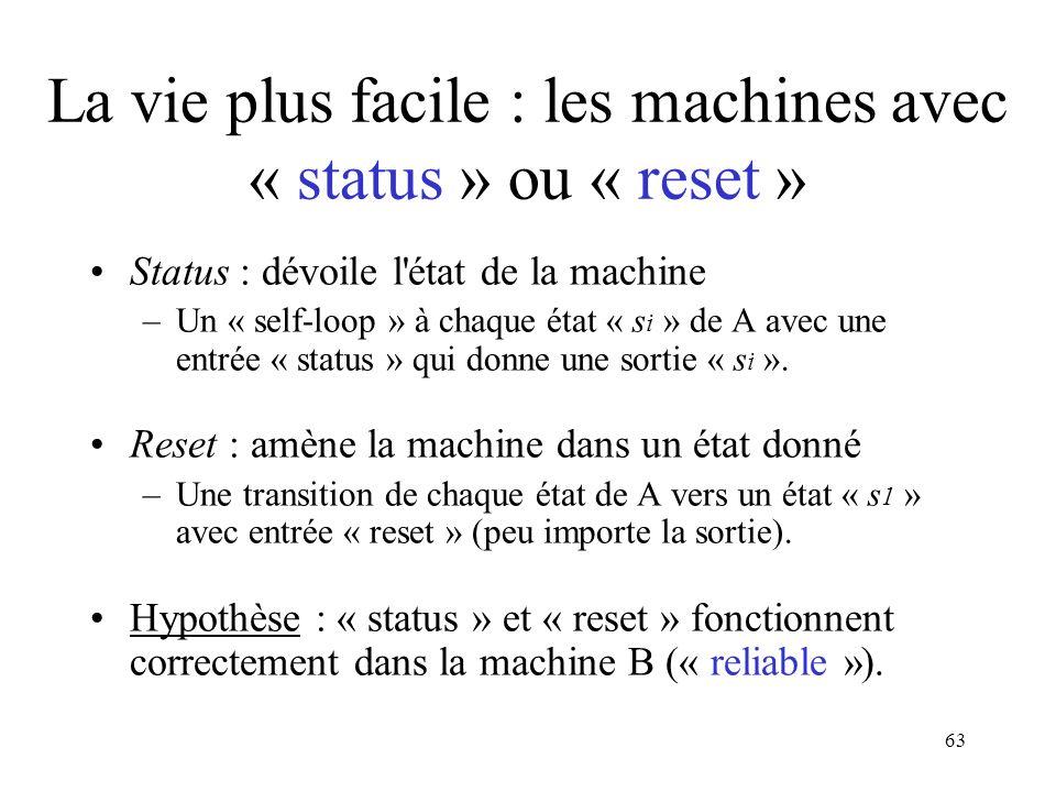 La vie plus facile : les machines avec « status » ou « reset »