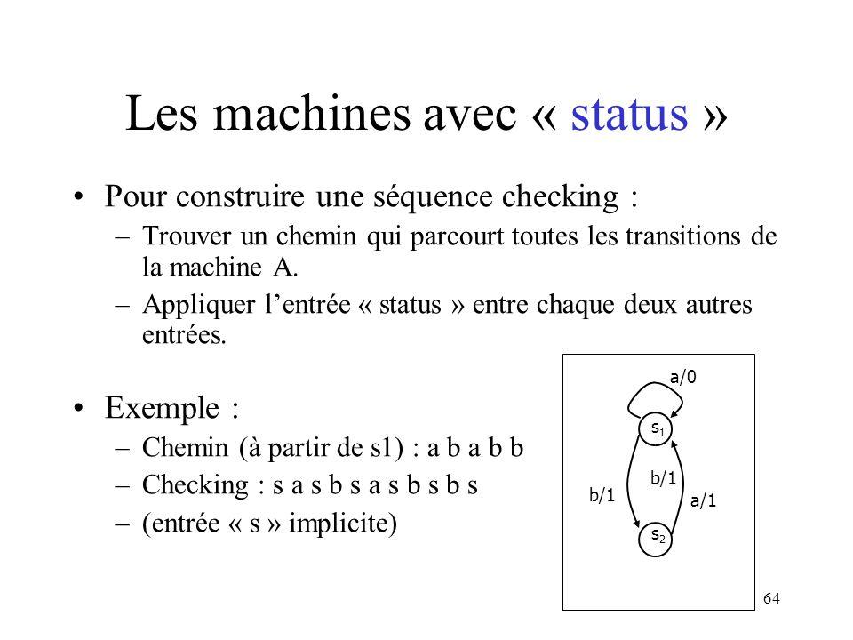 Les machines avec « status »